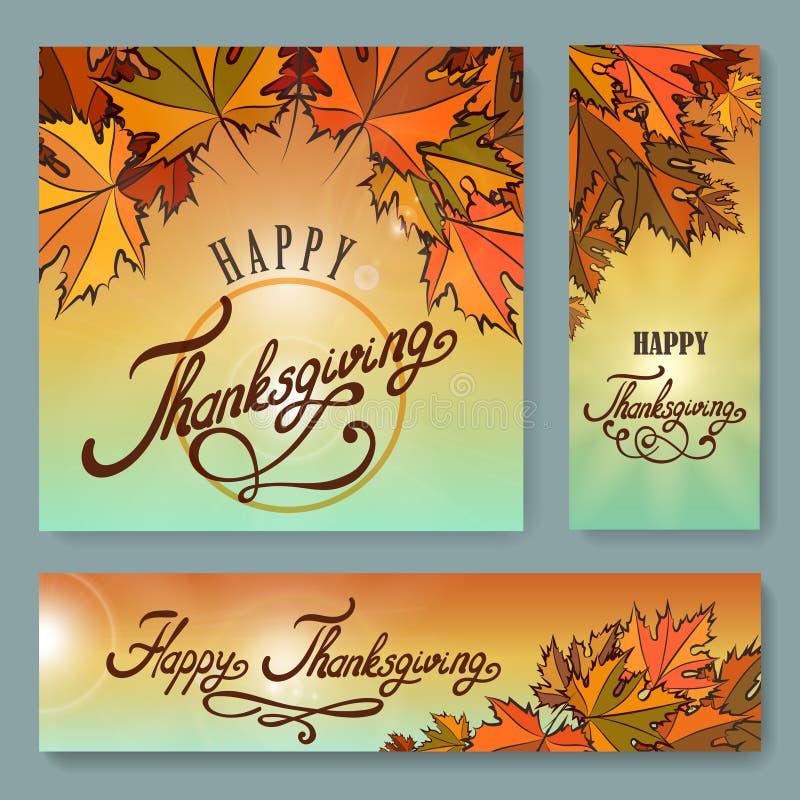 Ensemble heureux de fond de jour de thanksgiving illustration libre de droits