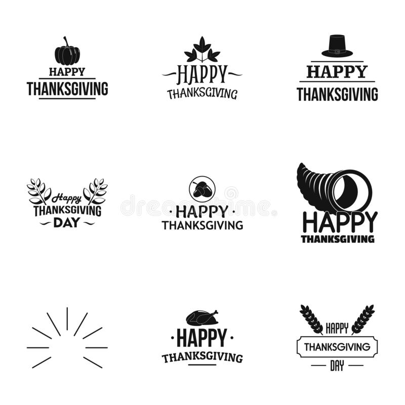 Ensemble heureux de logo de jour de thanksgiving, style simple illustration stock