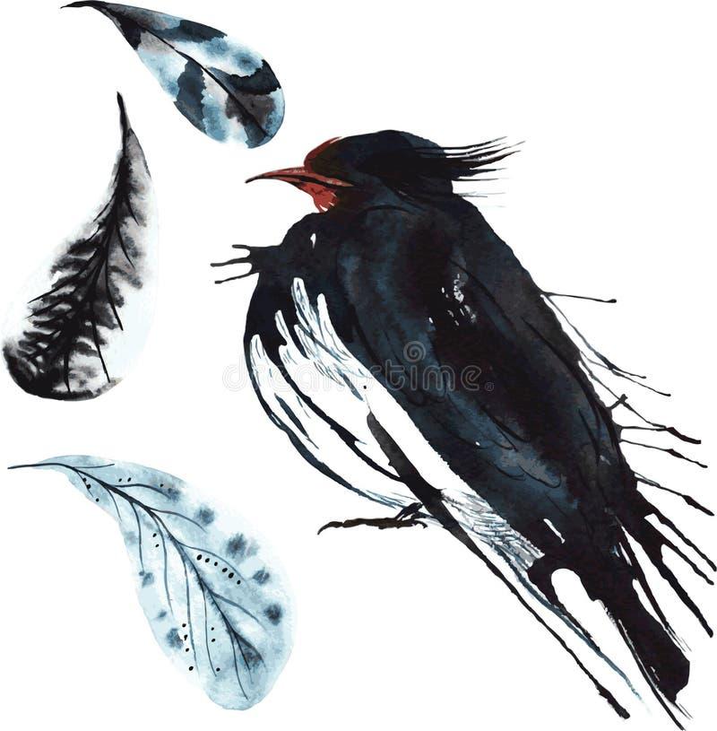 Ensemble - hirondelle d'oiseau d'aquarelle, croquis tiré par la main du techniqu illustration stock
