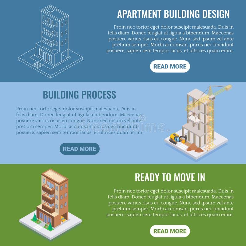 Ensemble horizontal à plat isométrique de bannière de vecteur de construction d'appartement illustration stock