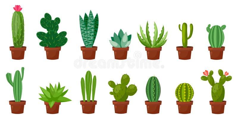 Ensemble horizontal de bannière de désert, cactus vert de pièce Plat, style de bande dessinée Fond de blanc d'illustration de vec illustration libre de droits