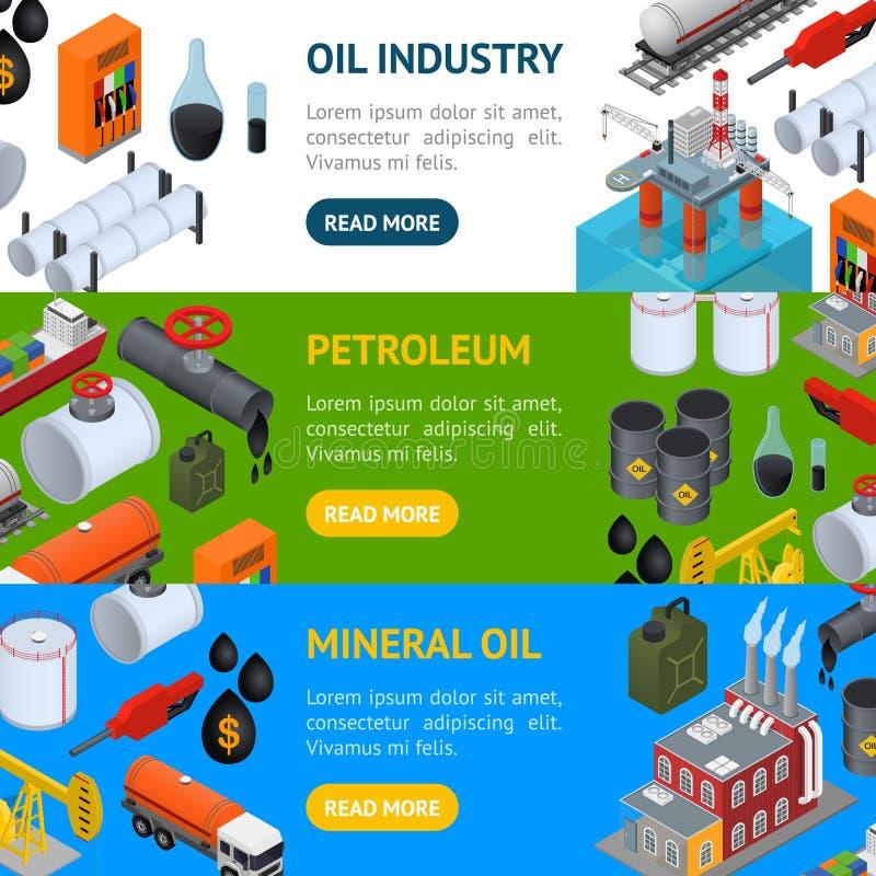 Ensemble horizontal de bannière d'industrie pétrolière et de ressource énergétique Vecteur illustration stock