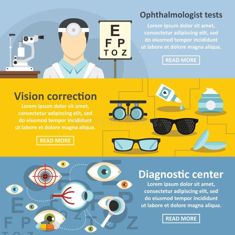 Ensemble horizontal de bannière d'ophtalmologue, style plat illustration de vecteur