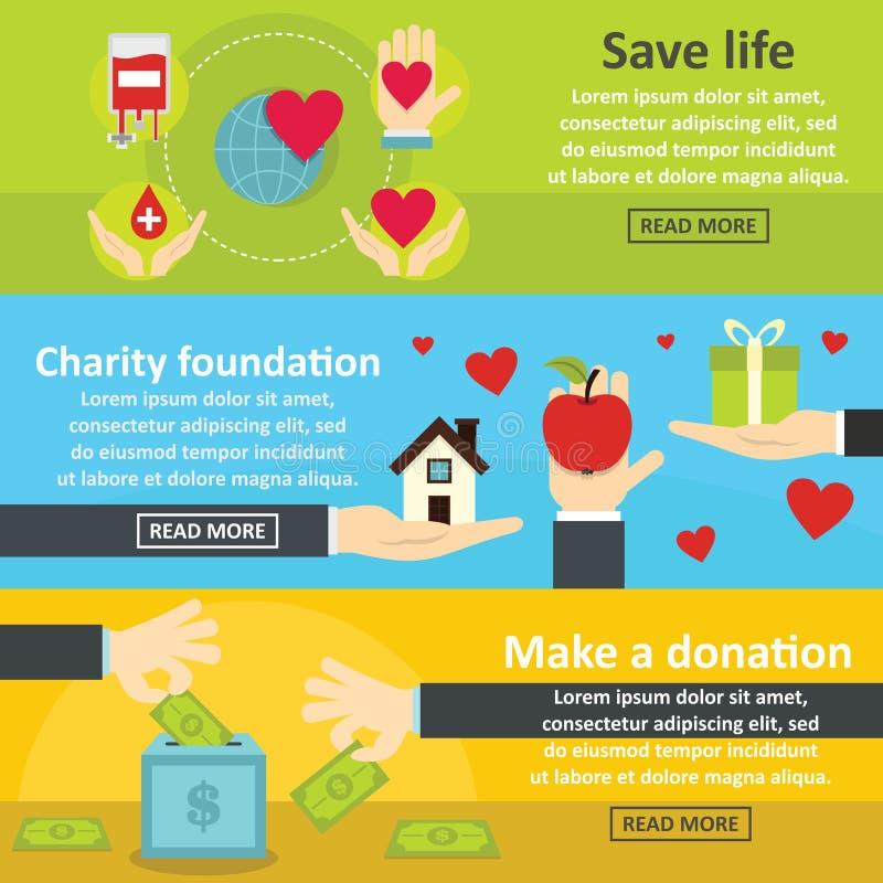 Ensemble horizontal de bannière de donation de charité, style plat illustration libre de droits