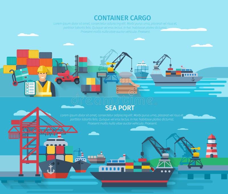 Ensemble horizontal de bannière de port maritime illustration stock