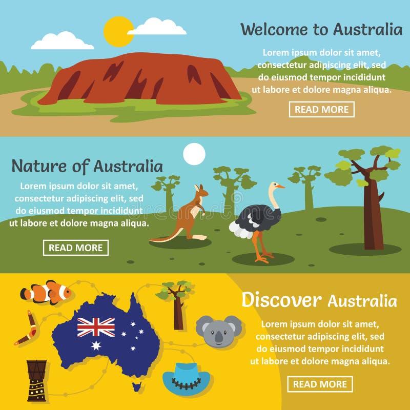 Ensemble horizontal de bannière de voyage d'Australie, style plat illustration libre de droits