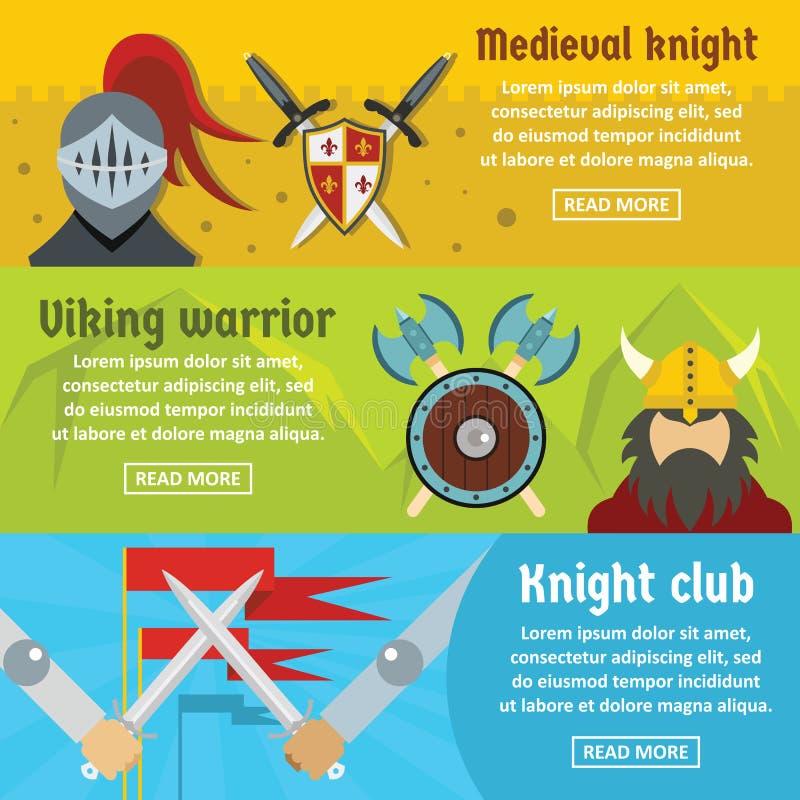 Ensemble horizontal de bannière médiévale de chevalier, style plat illustration de vecteur