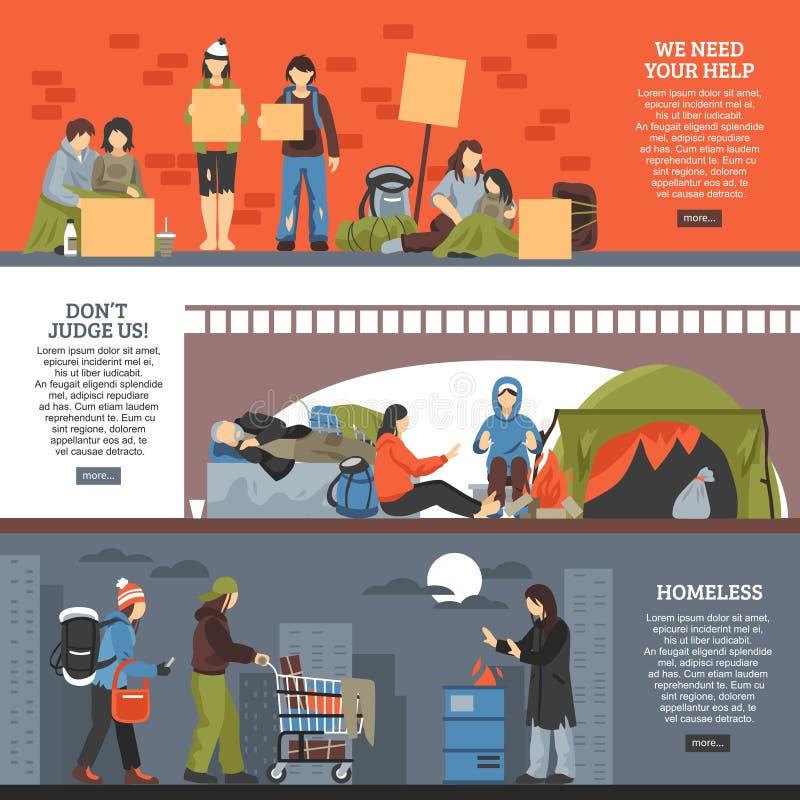 Ensemble horizontal de bannière de personnes sans abri illustration libre de droits
