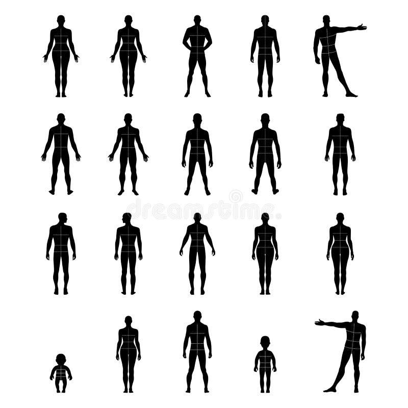 Ensemble humain avant et arrière intégral de silhouette avec le corps marqué illustration stock
