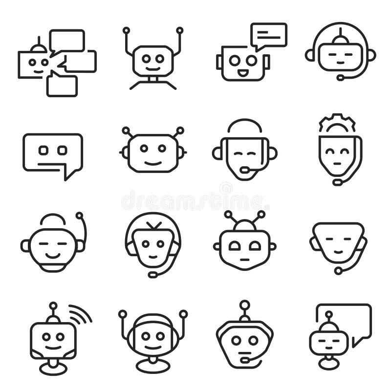 Ensemble icône de visage de bot de causerie de schéma illustration stock