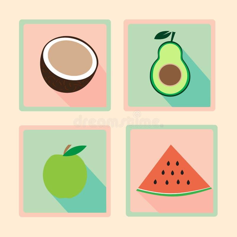 Ensemble icônes de conception plate de forme physique de rétros illustration stock