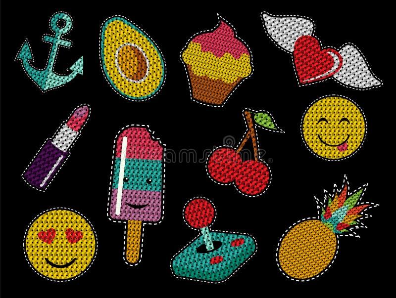 Ensemble icônes mignonnes de correction d'art de bruit de paillette de rétros illustration libre de droits