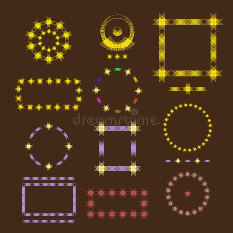 Ensemble illustré de cadres d'icône pour la décoration et le texte lumineux ou de carte pendant des jours significatifs illustration de vecteur