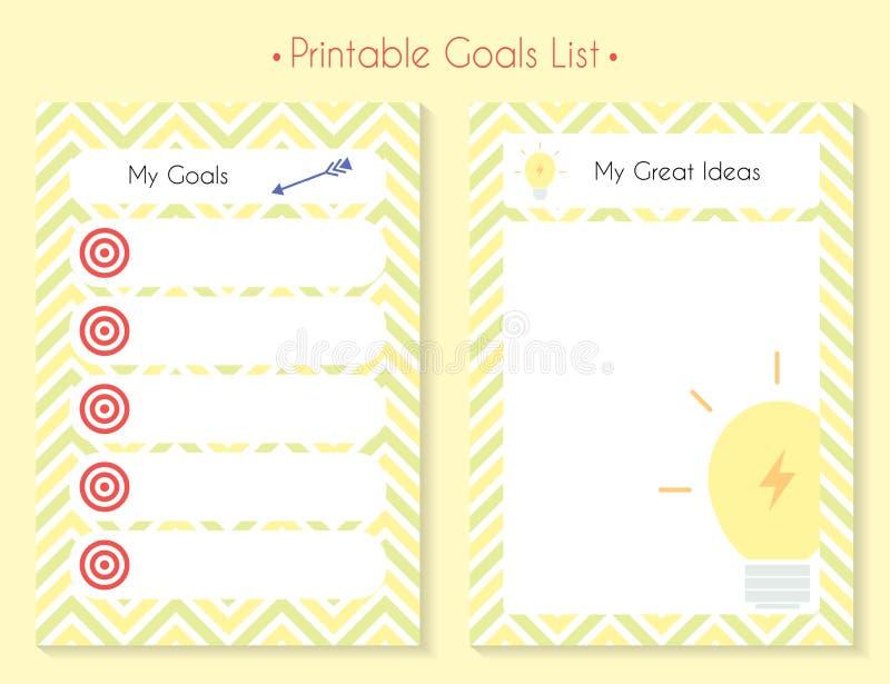 Ensemble imprimable de planificateur de couleur illustration stock