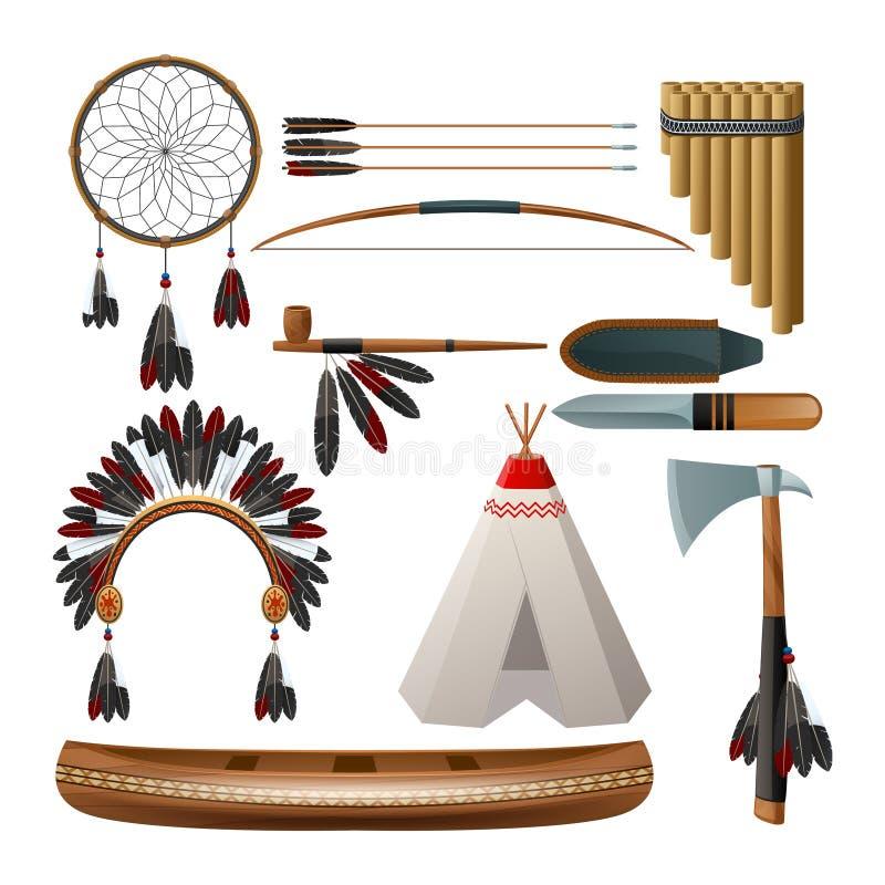 Ensemble indigène américain ethnique illustration stock