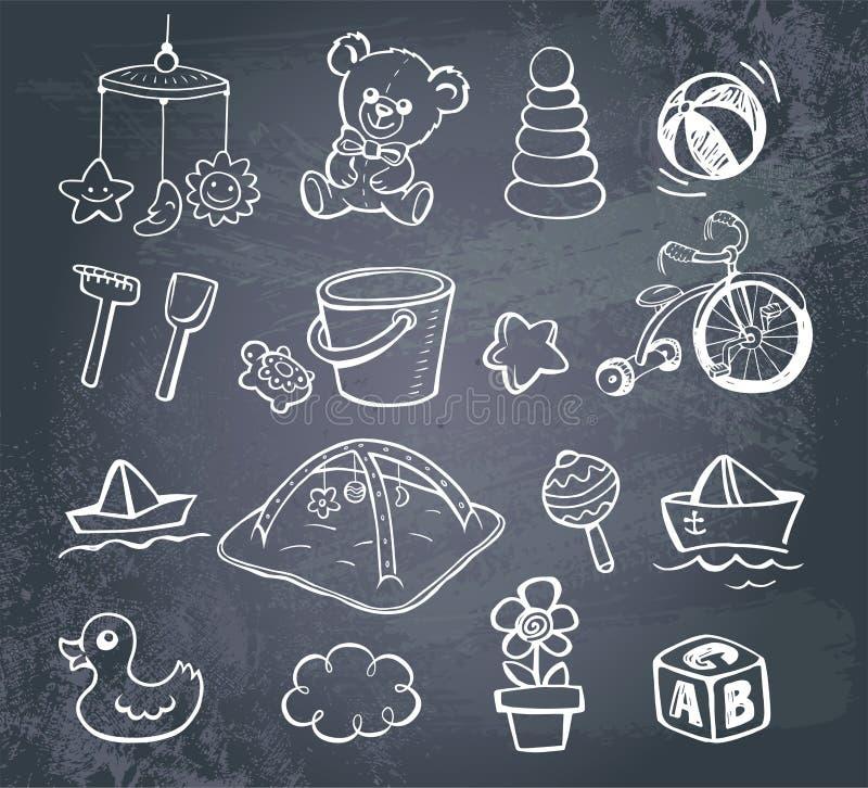 Ensemble infantile d'icône illustration de vecteur