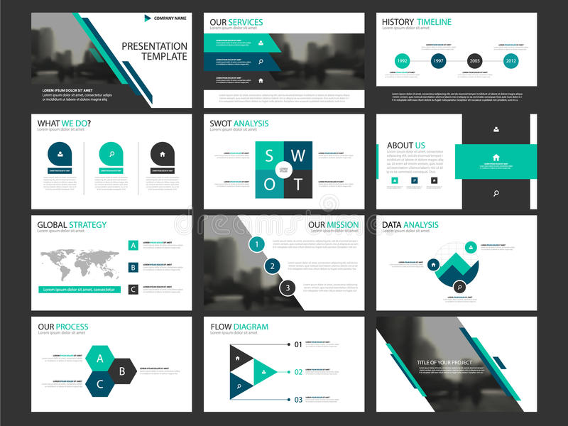 Ensemble infographic de calibre d'éléments de présentation d'affaires, conception horizontale d'entreprise de brochure de rapport illustration libre de droits
