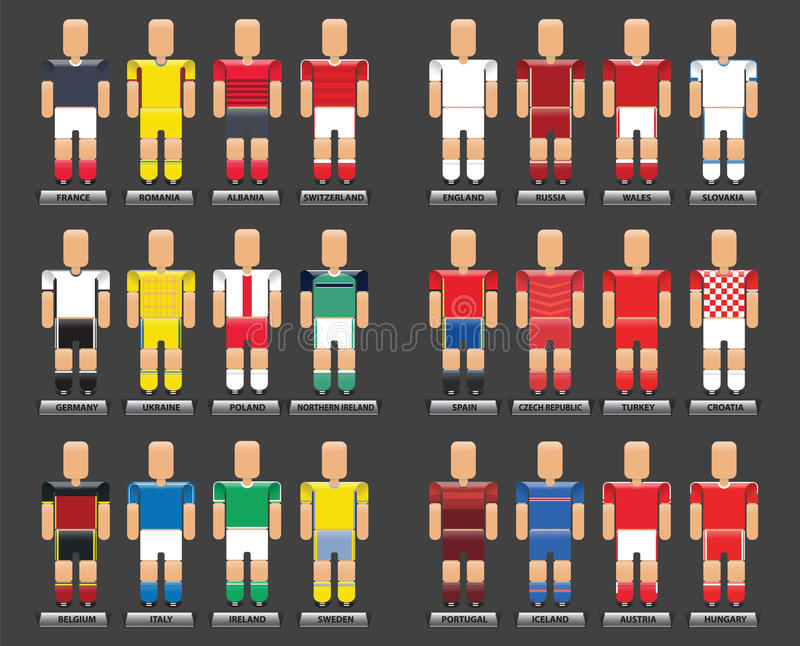 Ensemble infographic de style plat de vecteur de l'euro 2016 de T-shirts du football illustration stock