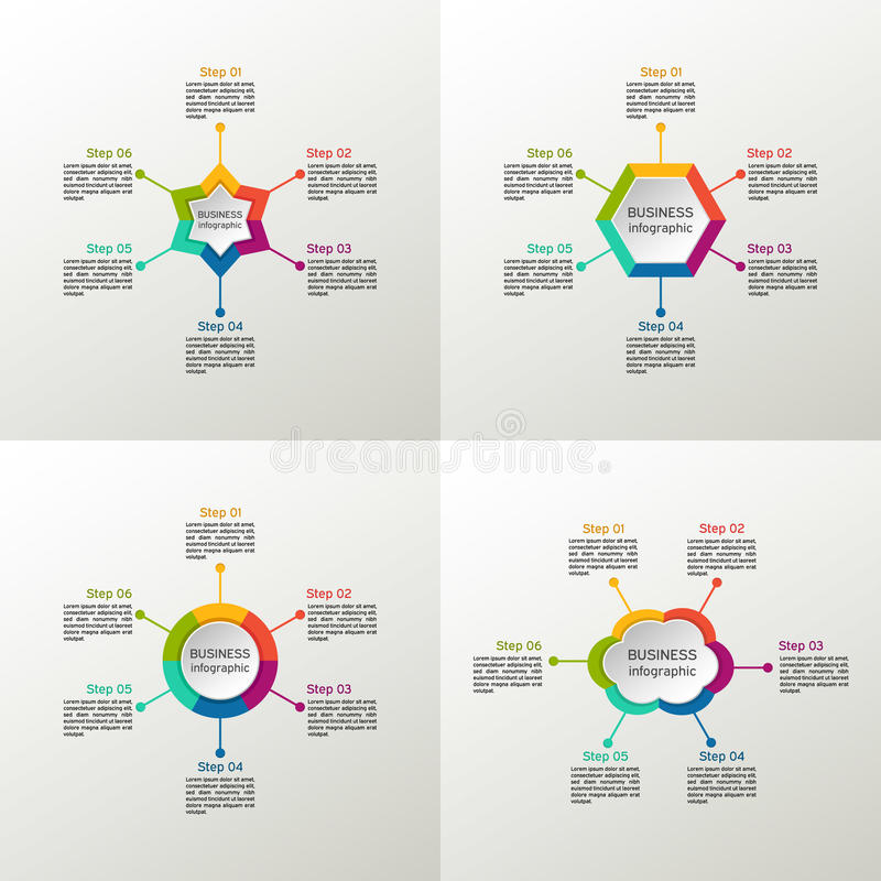 Ensemble infographic de vecteur Diagrammes d'affaires, rond de graphiques, présentations et diagrammes cercle Étoile Nuage hexago illustration libre de droits