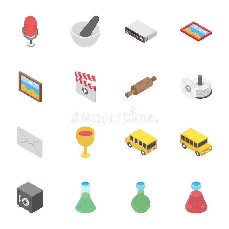 Ensemble innovateur d'objets illustration de vecteur