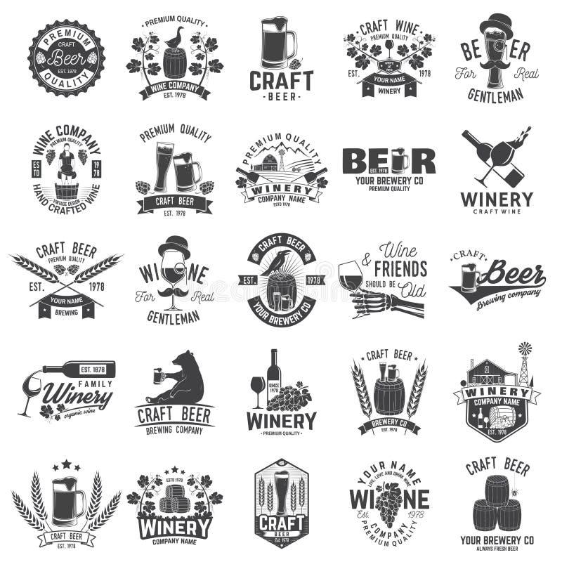 Ensemble insigne de métier de bière et d'établissement vinicole de société, signe ou label Illustration de vecteur illustration stock