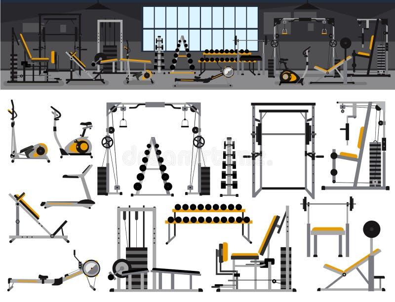 Ensemble intérieur d'icône de gymnase Conception de centre de fitness dans le style plat avec le support de puissance, banc à pre illustration libre de droits