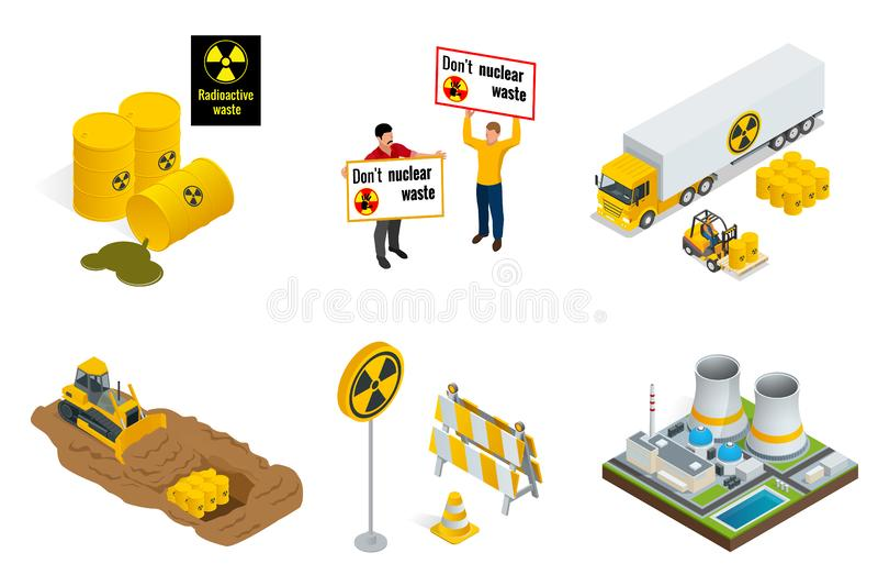 Ensemble isométrique d'éléments de déchets radioactifs Les gens protestent, les barils, le transport, la centrale ou les réacteur illustration libre de droits