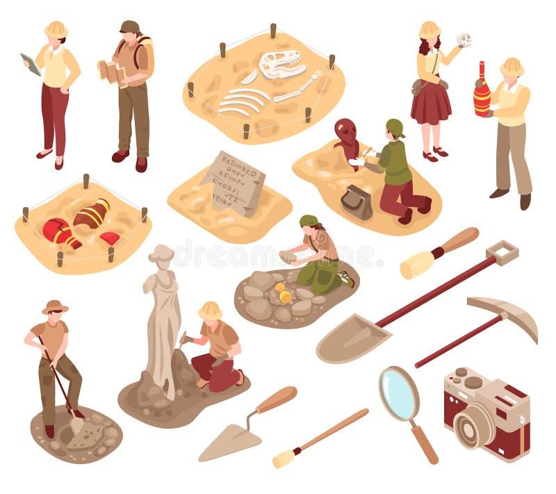 Ensemble isométrique d'archéologie illustration libre de droits