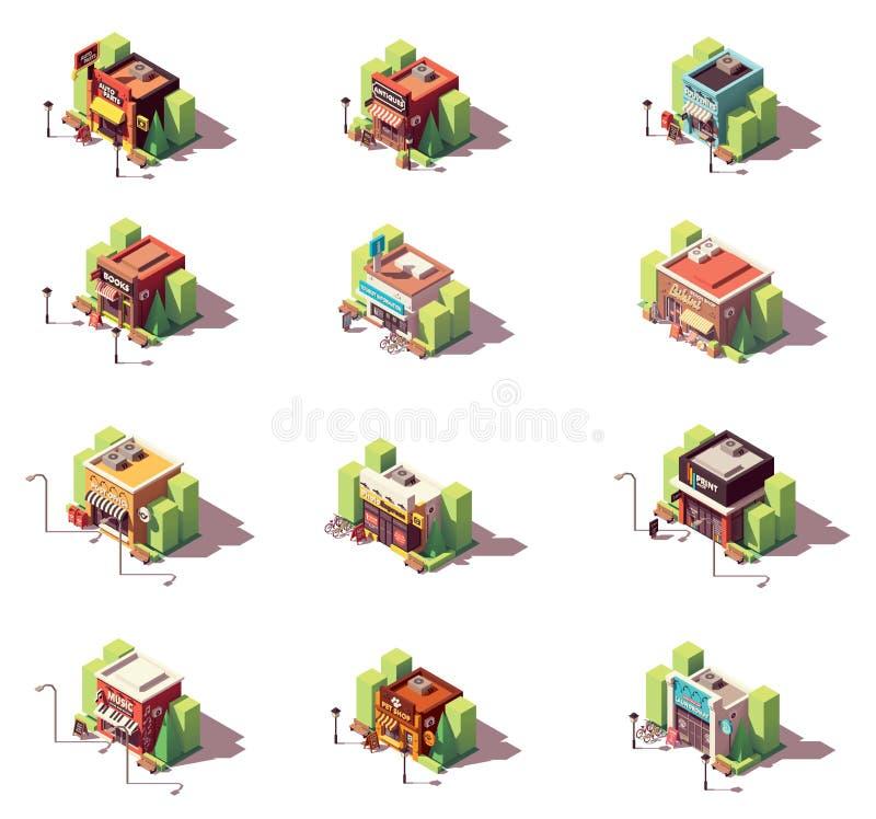 Ensemble isométrique d'icône de boutiques de vecteur illustration stock