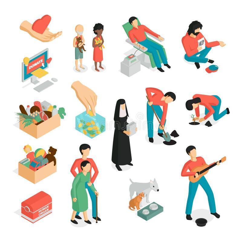 Ensemble isométrique d'icône de donation illustration libre de droits