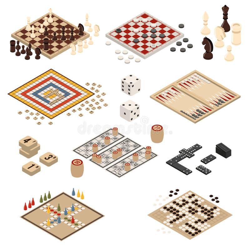 Ensemble isométrique d'icône de jeux de société illustration stock