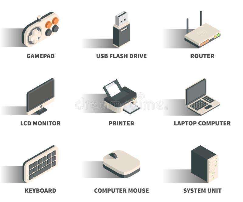 Ensemble isométrique d'icône du Web 3D illustration stock