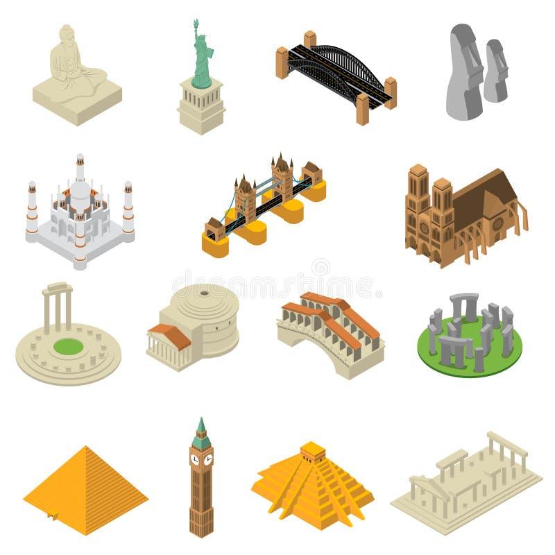 Ensemble isométrique d'icônes de points de repère de renommée mondiale illustration libre de droits