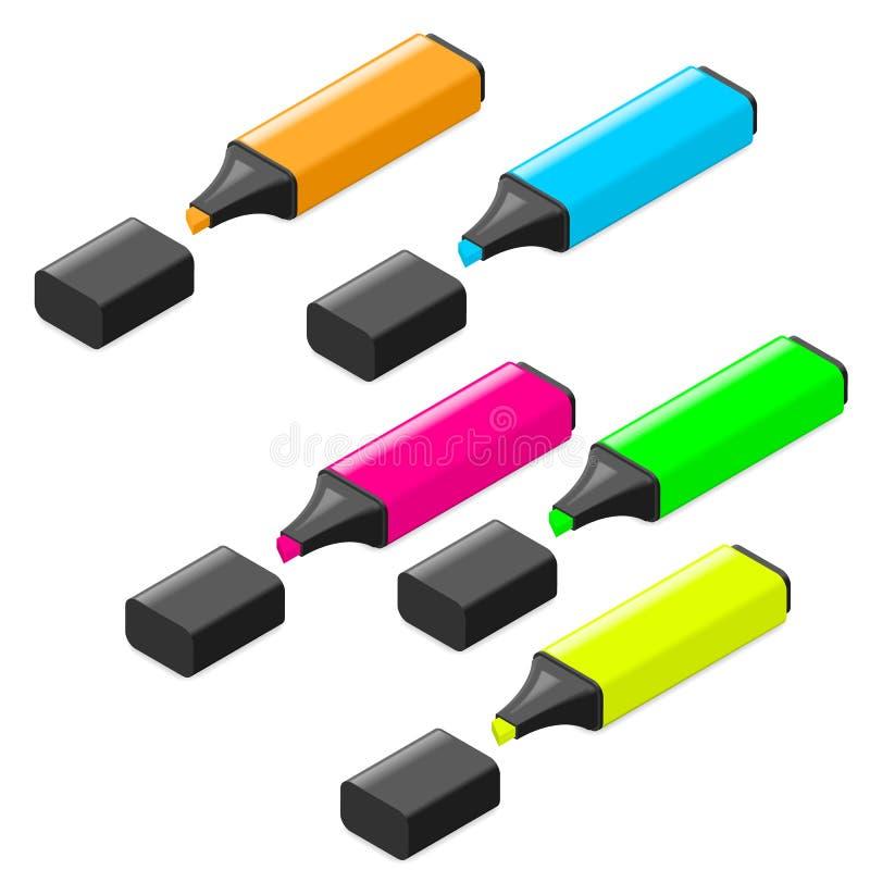 Ensemble isométrique d'icône de marqueurs de Highlither illustration stock