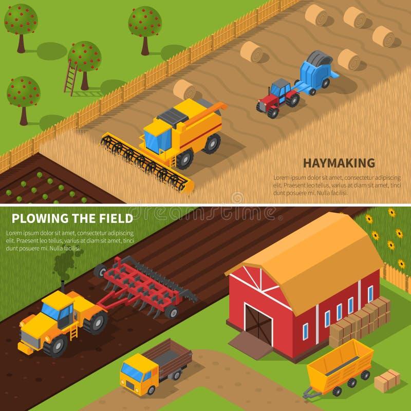 Ensemble isométrique de bannière de machines agricoles illustration libre de droits