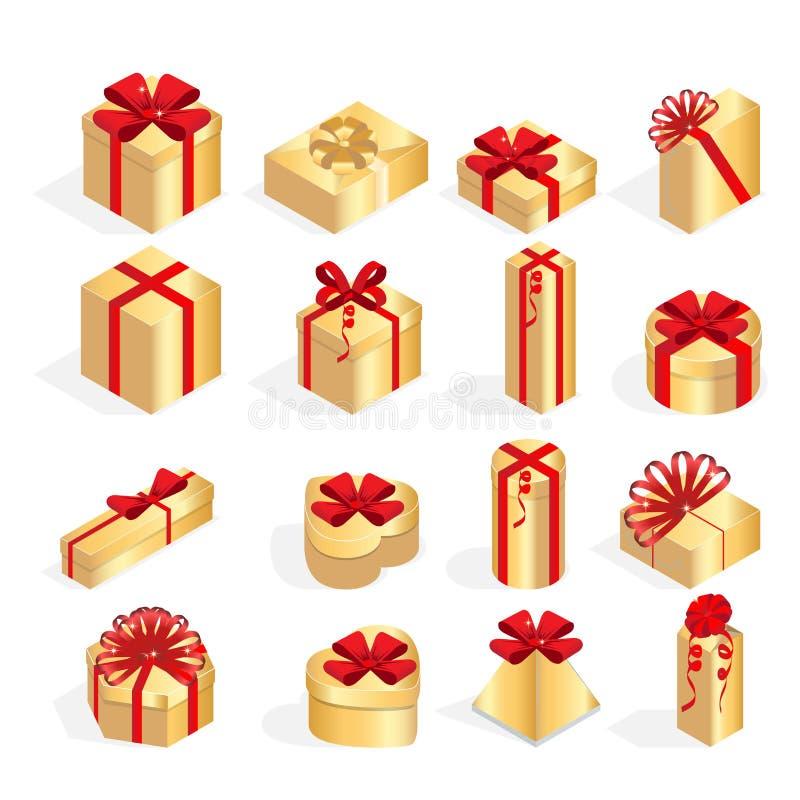 Ensemble isométrique de boîte-cadeau colorés avec des arcs et des rubans Surprise à l'intérieur Un bon nombre de présents Vecteur illustration libre de droits