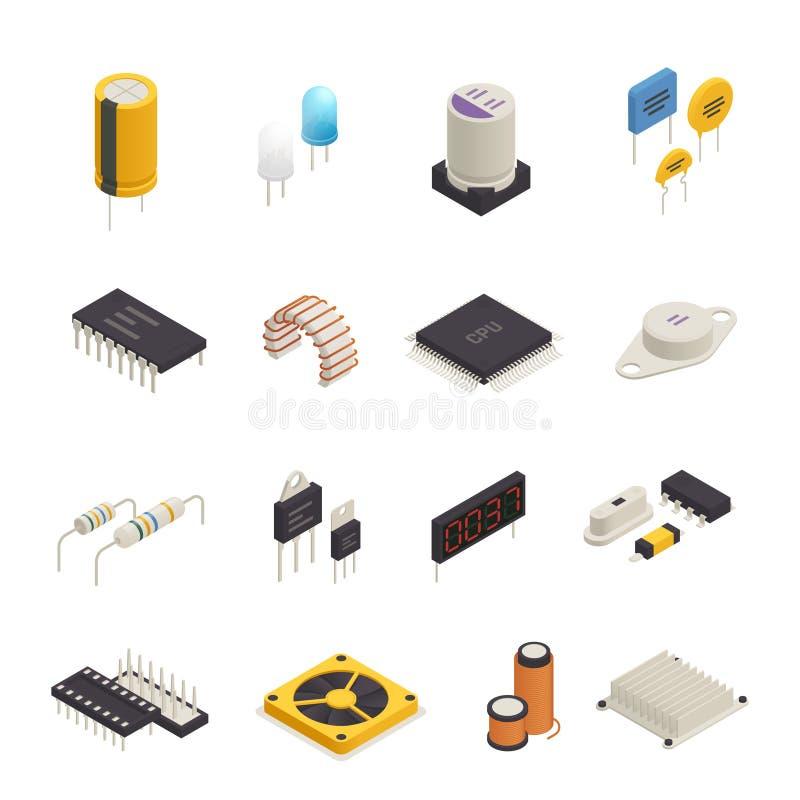 Ensemble isométrique de composants électroniques de semi-conducteur illustration libre de droits