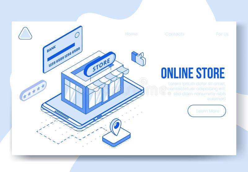 Ensemble isométrique de concept de construction de Digital d'icônes en ligne de l'appli 3d de magasin Magasin isométrique de s illustration stock
