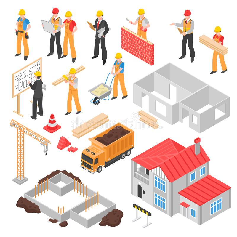 Ensemble isométrique de construction illustration stock