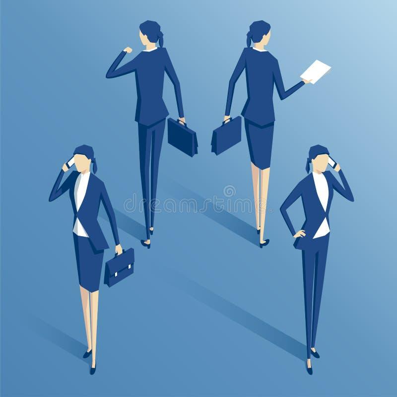 Ensemble isométrique de femme d'affaires illustration de vecteur