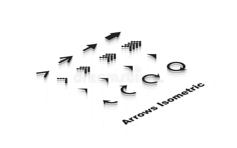 Ensemble isométrique de flèches Flèches d'icône Flèche colorée noire Vecteur illustration de vecteur