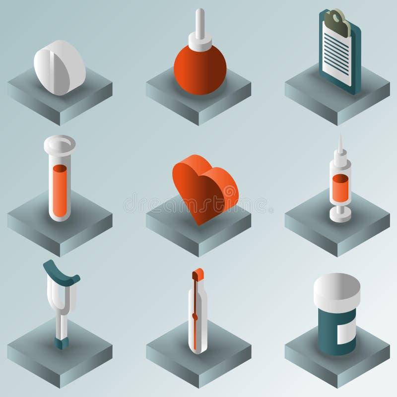 Ensemble isométrique de gradient médical de couleur illustration de vecteur