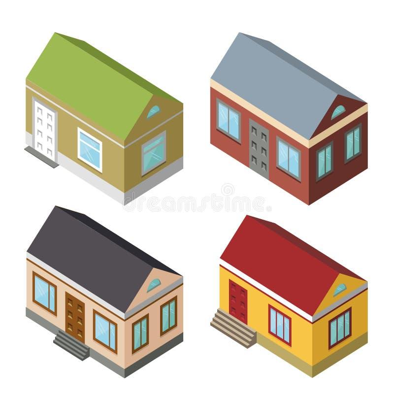 Ensemble isométrique de maison graphismes 3D illustration stock
