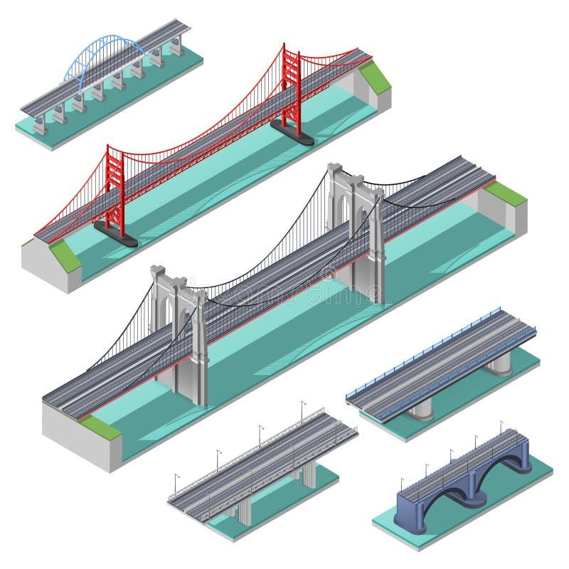 Ensemble isométrique de ponts illustration stock