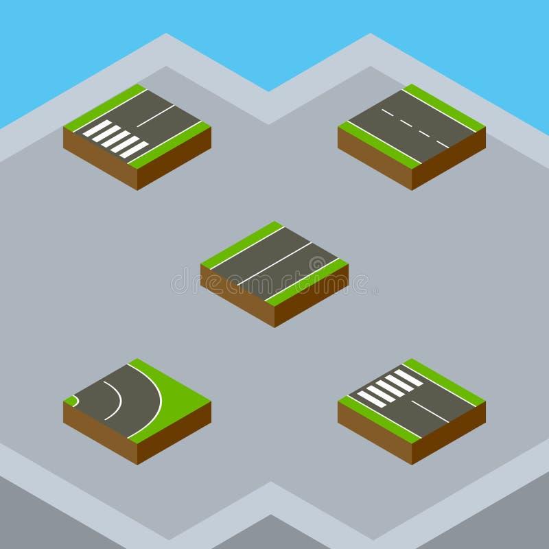 Ensemble isométrique de route d'à voie unique, d'asphalte, d'avion et d'autres objets de vecteur Inclut également l'allée, bitume illustration libre de droits