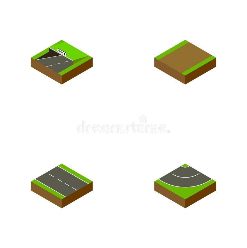 Ensemble isométrique de route d'à voie unique, de souterrain, de route et d'autres objets de vecteur Inclut également le sentier  illustration stock