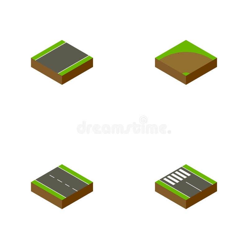 Ensemble isométrique de route de sable, bande, objets à voie unique de vecteur Inclut également la route, tour, éléments piétonni illustration de vecteur