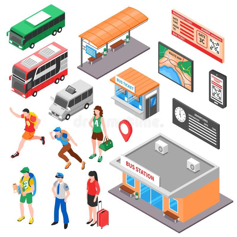 Ensemble isométrique de terminus de bus illustration de vecteur
