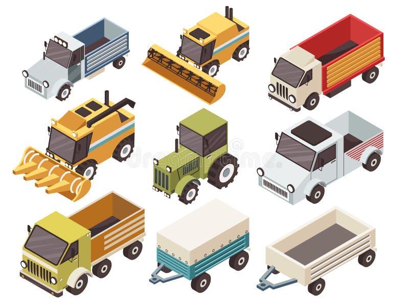 Ensemble isométrique de véhicules de ferme illustration libre de droits