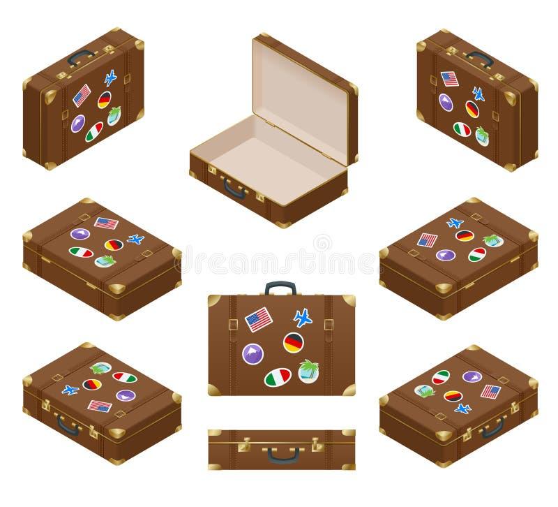 Ensemble isométrique de valises de voyage avec des autocollants illustration stock